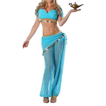 Sue&Joe Women's Girl Princess Jasmine Costume Adult Aladdin Belly Dance Stage Costume