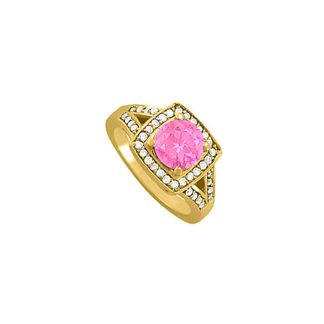 Fine Jewelry Vault UBUNR84468AGVYCZPS Pink Sapphire & CZ Ring in 18K Yellow Gold Vermeil, 40 Stones