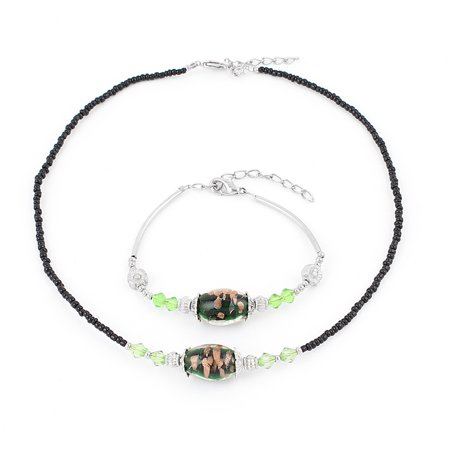 Chamilia Light (Unique Bargains Lady Dark Green Oval Chamilia Beads Decor Necklace Bracelet Jewelry Set 2 in 1 )