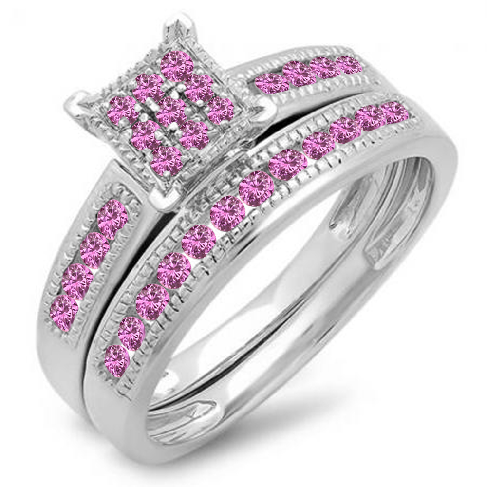0.50 Carat (ctw) Sterling Silver Pink Sapphire Ladies Engagement Ring Set Matching Wedding Band 1 2 CT by DazzlingRock
