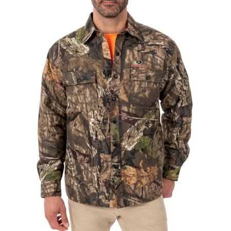 Men's Mossy Oak Flannel Quilted Lined Shirt Jacket No Hassle Linen Shirt Jacket