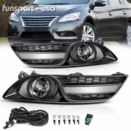 Fog Lights For Nissan Sentra 2013 2014 2015 Sylphy 2012 2013 2014 2015 (OE Style Real Glass Clear Lens with Bulbs & Wiring Harness) nissan sentra 2014 fog lights