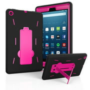 "Fire HD 8 Case 2017, EpicGadget(TM) 2017 7th Generation Amazon Fire HD 8"" Heavy Duty Hybrid Case Full Body Cover with Kickstand For Fire HD 8"" Display + 1 Fire 8 HD Screen Protector (Black/Pink)"