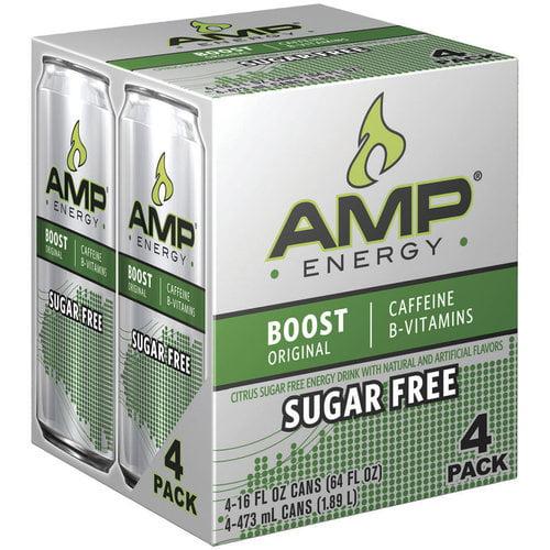 AMP Energy Boost Original Sugar Free Energy Drink, 16 fl oz, 4 pack