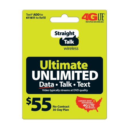 Straight Talk $55 Unlimited T/t/d Card