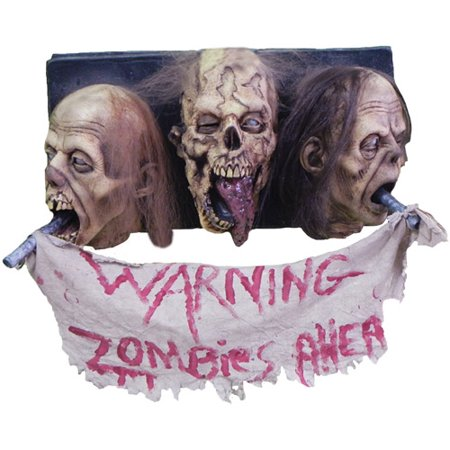 Life-Size 3-Head Zombie Wall Plaque Halloween - Zombie Dog Halloween Prop