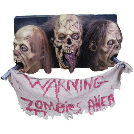 Life-Size 3-Head Zombie Wall Plaque Halloween Prop