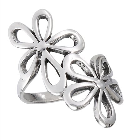 Oxidized Filigree Flower Daisy Wide Ring New 925 Sterling Silver Band Size