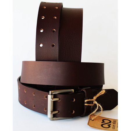 Adam Burk Mens Western Double Hole 100% Cow Leather Belt Gun Holster BRN 1 1/2