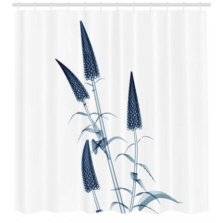 Contemporary Floral Fabric - Flower Shower Curtain, X-ray Picture of a Flower Floral Pattern Contemporary Modern Design Artwork Image, Fabric Bathroom Set with Hooks, Teal White, by Ambesonne