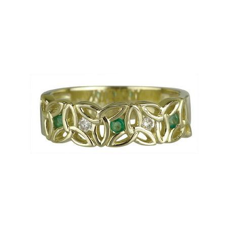 14K Trinity Knot Diamond & Emerald Ring/ Size 6.5 14kt Diamond Trinity Knot Ring