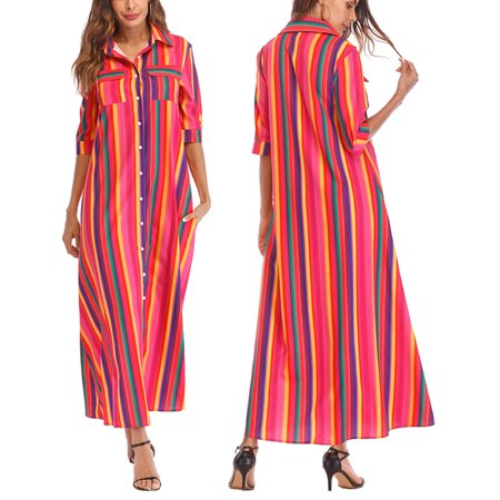 b926bfe4c55 SAYFUT - Women s 3 4 Sleeve Button Closure Shirts Striped Floral Print  Beach Dress Sexy Neckline High Waist Long Dresses - Walmart.com