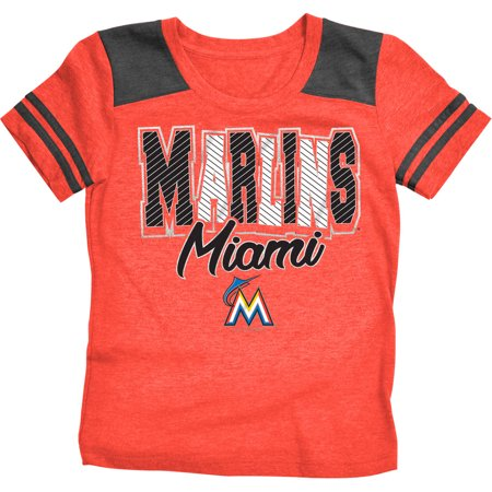 MLB Miami Marlins Girls Short Sleeve Team Color Graphic Tee