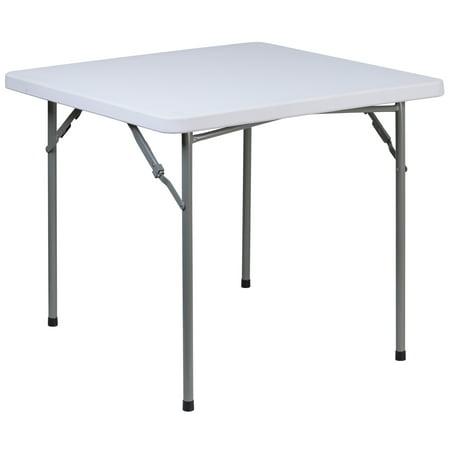Flash Furniture 2.81-Foot Square Granite White Plastic Folding Table