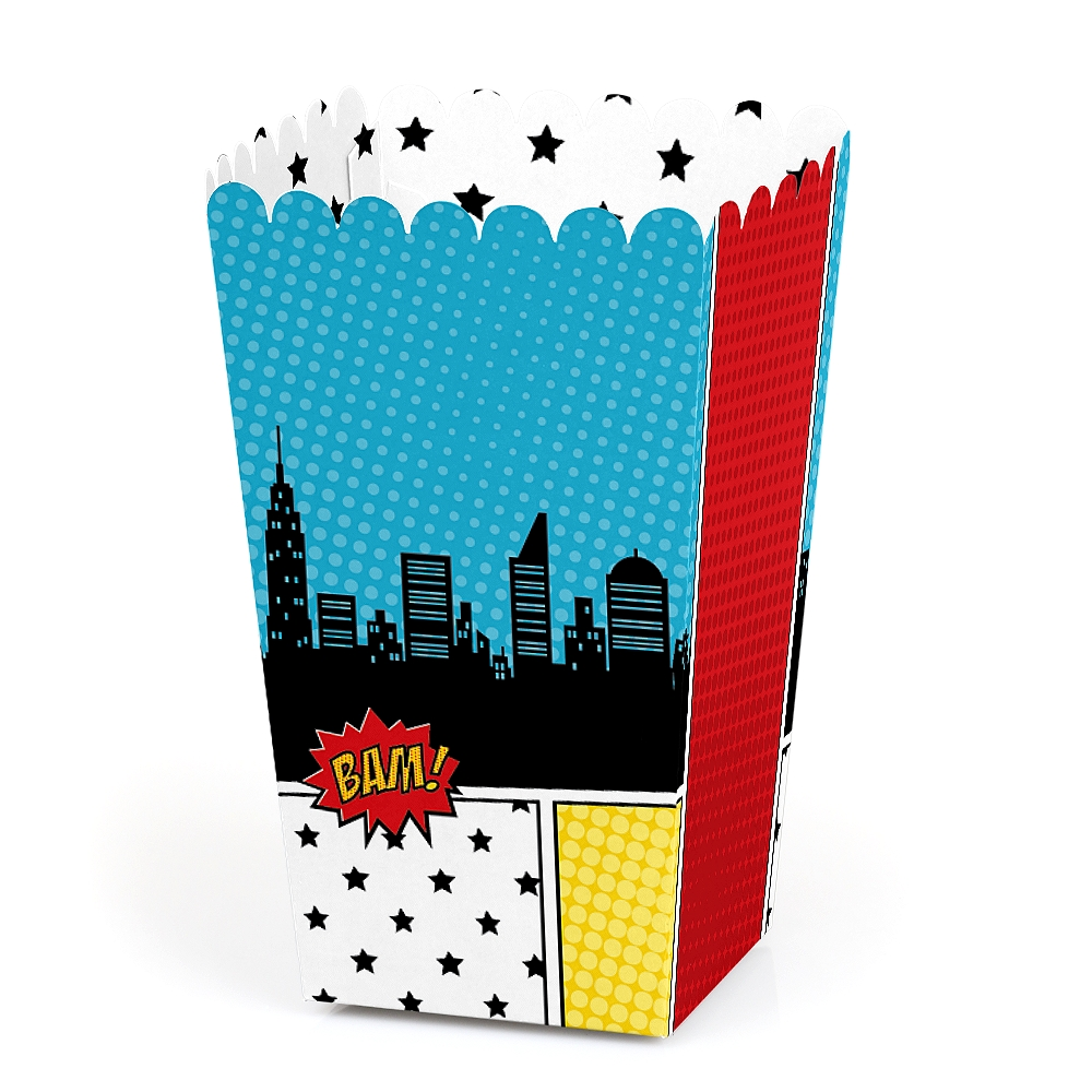 BAM! Superhero - Baby Shower or Birthday Party Favor Popcorn Treat Boxes - Set of 12