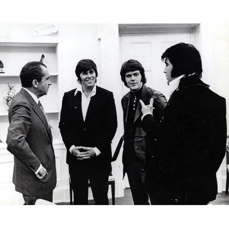 Richard Nixon Sonny West Jerry Schilling and Elvis Presley Photo Print