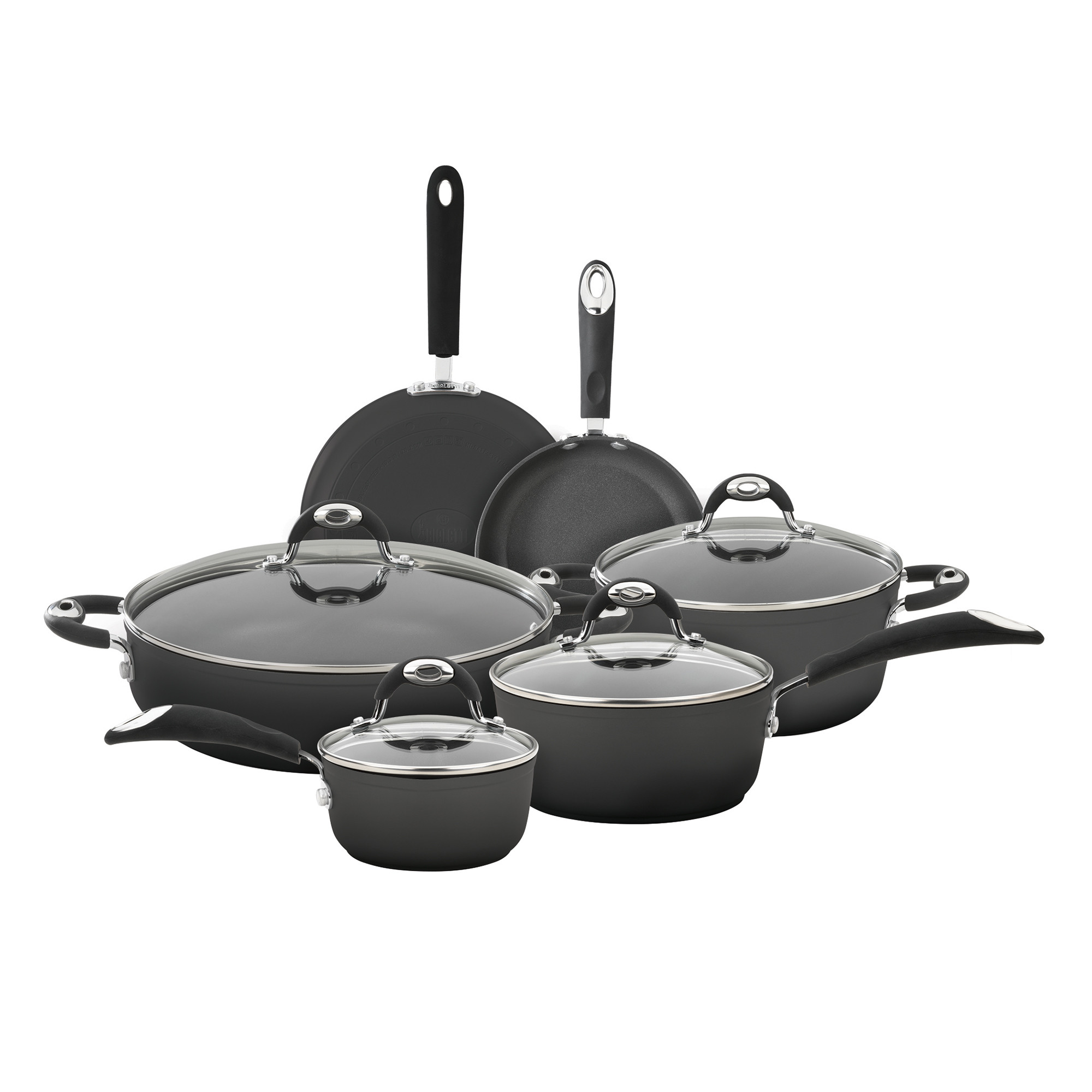Bialetti Aluminum 10-piece Cookware Set with Silicone Han...