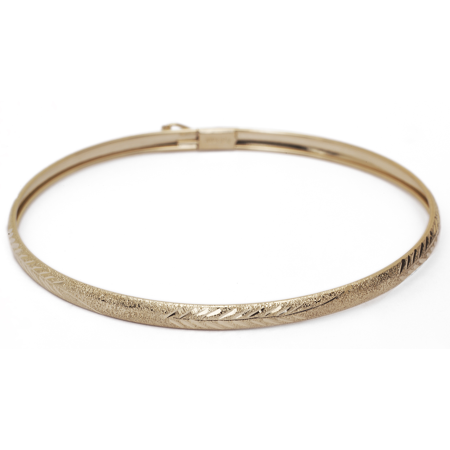 "Floreo 10k Yellow Gold bangle bracelet Flexible Round with Diamond Cut Design (0.16"")"