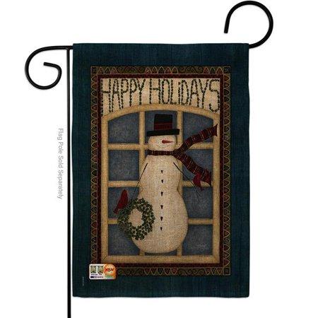 Breeze Decor BD-WT-G-114164-IP-DB-D-US18-SB 13 x 18.5 in. Happy Holidays Snowman Burlap Winter Wonderland Impressions Decorative Vertical Double Sided Garden Flag Name Snowman Winter Wonderland