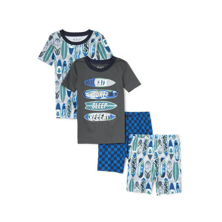 Print Pyjama Top (The Children's Place Graphic and print short sleeve tops, and sleep shorts, 4-piece pajama set (little boys & big)