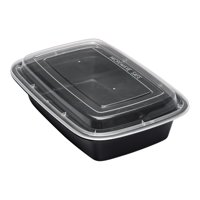 "Asporto 24 oz Rectangle Black Plastic To Go Box - with Clear Lid, Microwavable - 8"" x 5 1/4"" x 1 3/4"" - 100 count box"