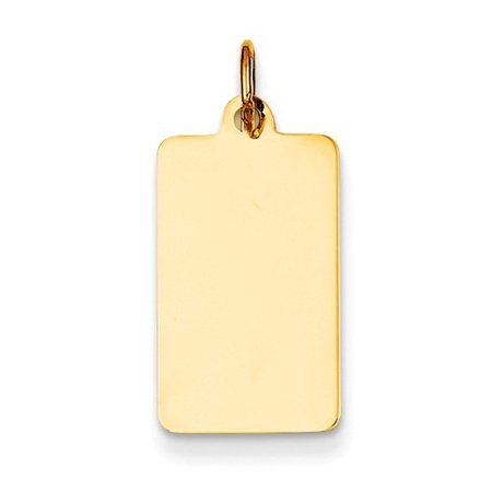 14k Yellow Gold Plain 0.018 Gauge Rectangular Engravable Disc Charm (0.9in long x 0.4in wide)