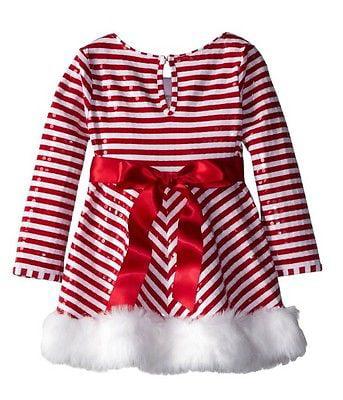 Bonnie Jean Girls Christmas Holiday Santa Joy Dress Legging Set Size 2T-4T