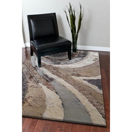 Light Brown with Grey Indoor Durable Shag 100 Percent Polyester Hand Tufted & Hand Made Large Runner Area Rug (Exact Size 2 Feet x 7 Feet 5 (Indoor Polyester)