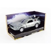 Jada JA30541 DeLorean DMC Time Machine Silver Back to the Future Part II 1989 Movie Hollywood Rides Series 1 by 32 Diecast Model Car