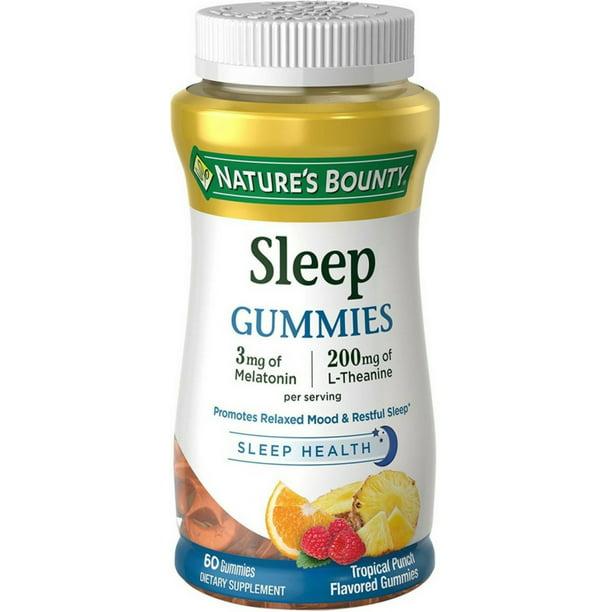 sleep bounty nature gummies flavored punch tropical walmart each