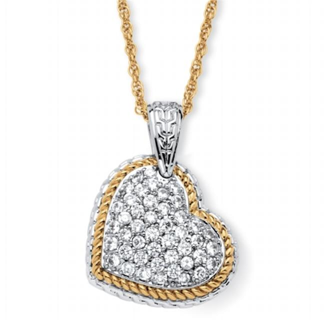 PalmBeach Jewelry 55343 18k Gold-Plated 2. 16 TCW Cubic Zirconia Two-Tone Puffed Heart Necklace