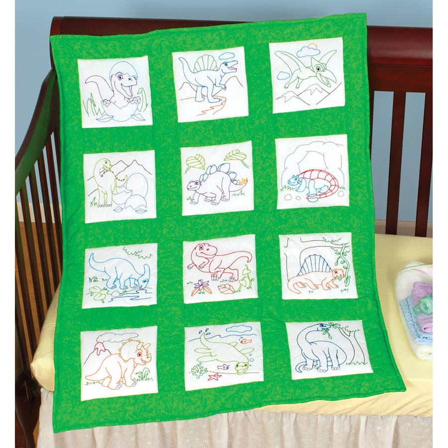 "Stamped White Nursery Quilt Blocks, 9"" x 9"", 12pk, Dinosaurs"