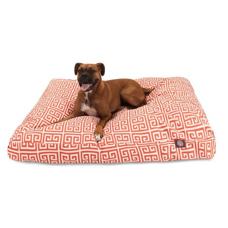 Majestic Pet Towers Rectangle Dog Bed Treated Polyester Removable Cover Orange Small 27u0022 x 20u0022 x 4u0022