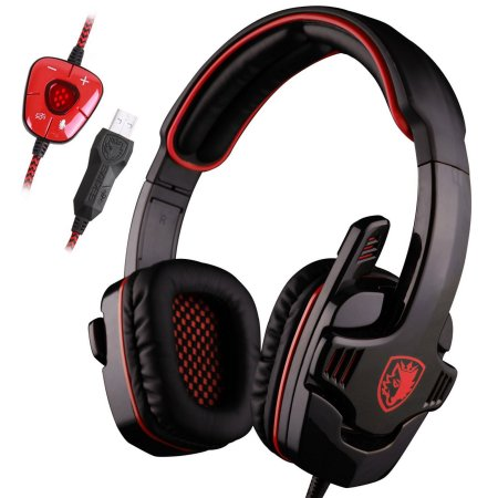 Professional USB PC Gaming Headset 7.1 Surround Stereo Headband Headphone with Microphone (Black+Red)