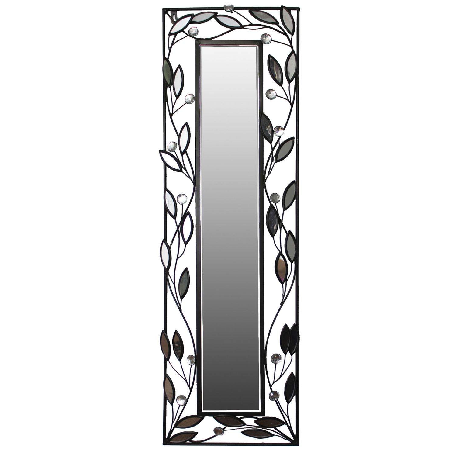 Home Source Decorative Rectangle Wall Mirror with Leaves