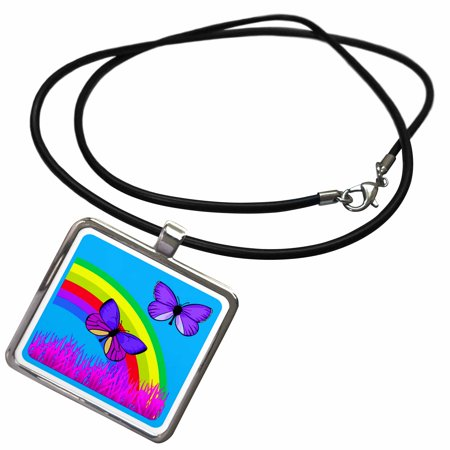 3dRose Butterflies and beautiful colored rainbow and accents - Necklace with Pendant (ncl_167168_1)