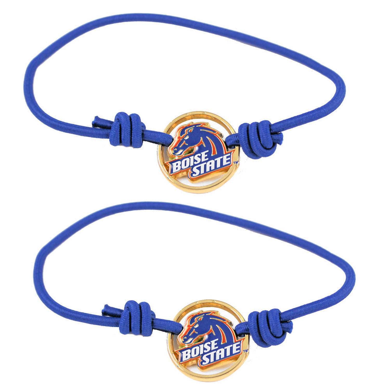NCAA Boise State Broncos Sports Team Logo Stretch Hair Ties/Bracelets Set of 2