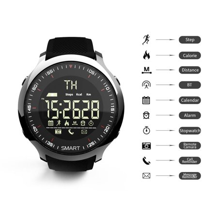 lokmat MK18 Smart Intelligent Watch Sport LCD Waterproof Pedometers Message Reminder BT Outdoor Swimming Men Smartwatch Stopwatch for ios Android - image 4 of 7
