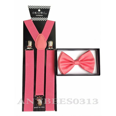 New Coral Pink Peach Salmon SUSPENDERS And BOW TIE Matching Set Tuxedo (Pink Bow Tie And Suspenders)