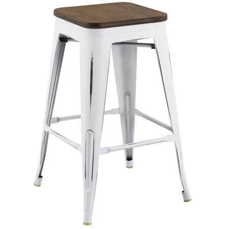 Industrial Country Cottage Farm Beach House Bar Pub and Dining Kitchen Counter Side Stool Chair, Metal Steel Wood, White ()