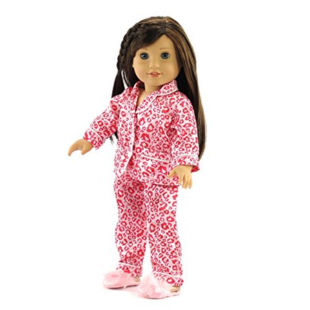 18 Inch Doll Clothes Clothing Fits American Girl Dolls   Leopard Pajamas   Slippers 18   Outfit