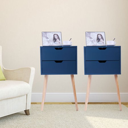 Jaxpety Set of 2 Nightstand Bedside Table Sofa End Table Bedroom Decor 2 Drawers Storage, Blue ()