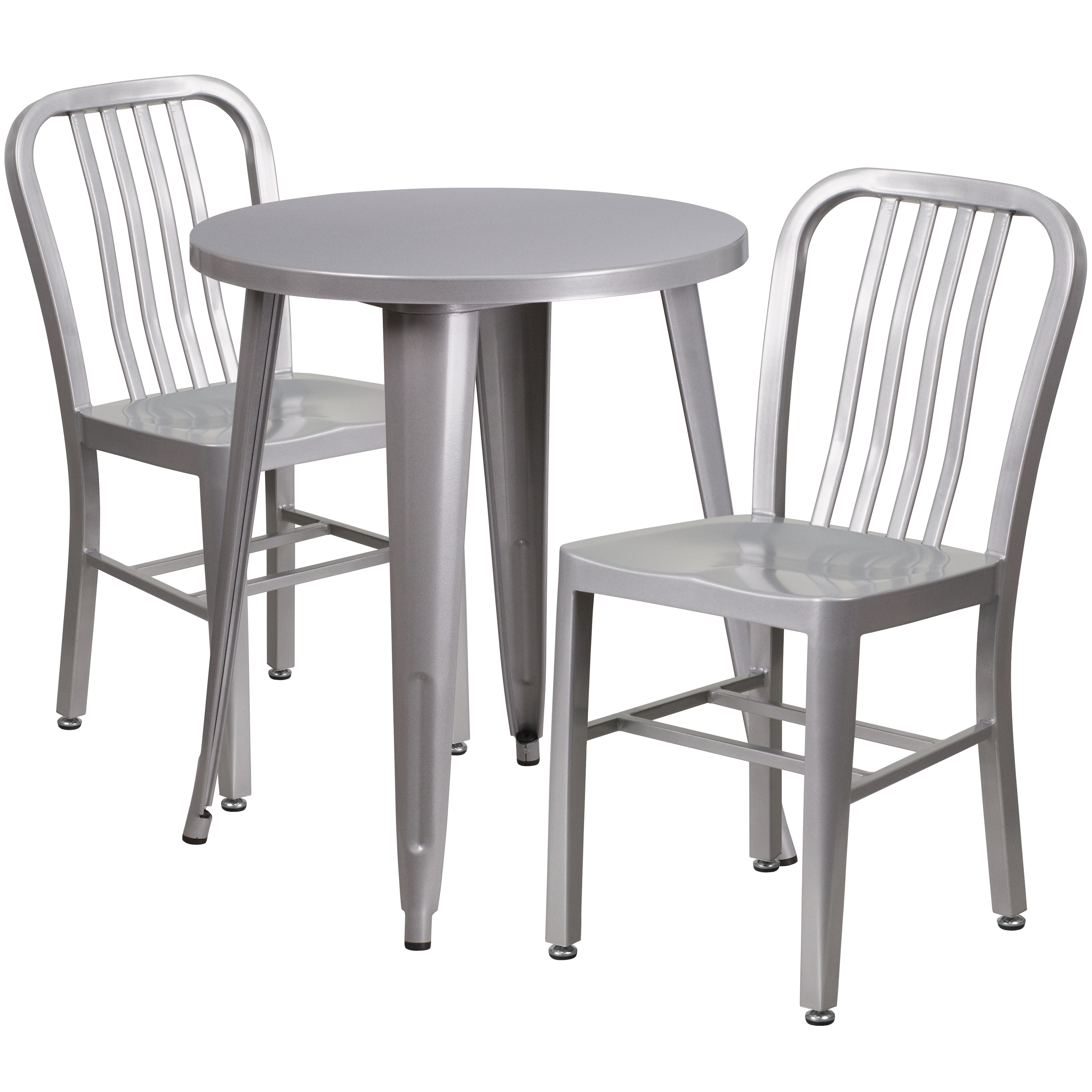 Flash Furniture 24'' Round Metal Indoor-Outdoor Table Set with 2 Vertical Slat Back Chairs, Multiple Colors