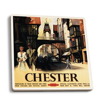 Chester, England - Street View with Couple and Tower Clock Rail - Vintage Travel Poster (Set of 4 Ceramic Coasters - Cork-backed,