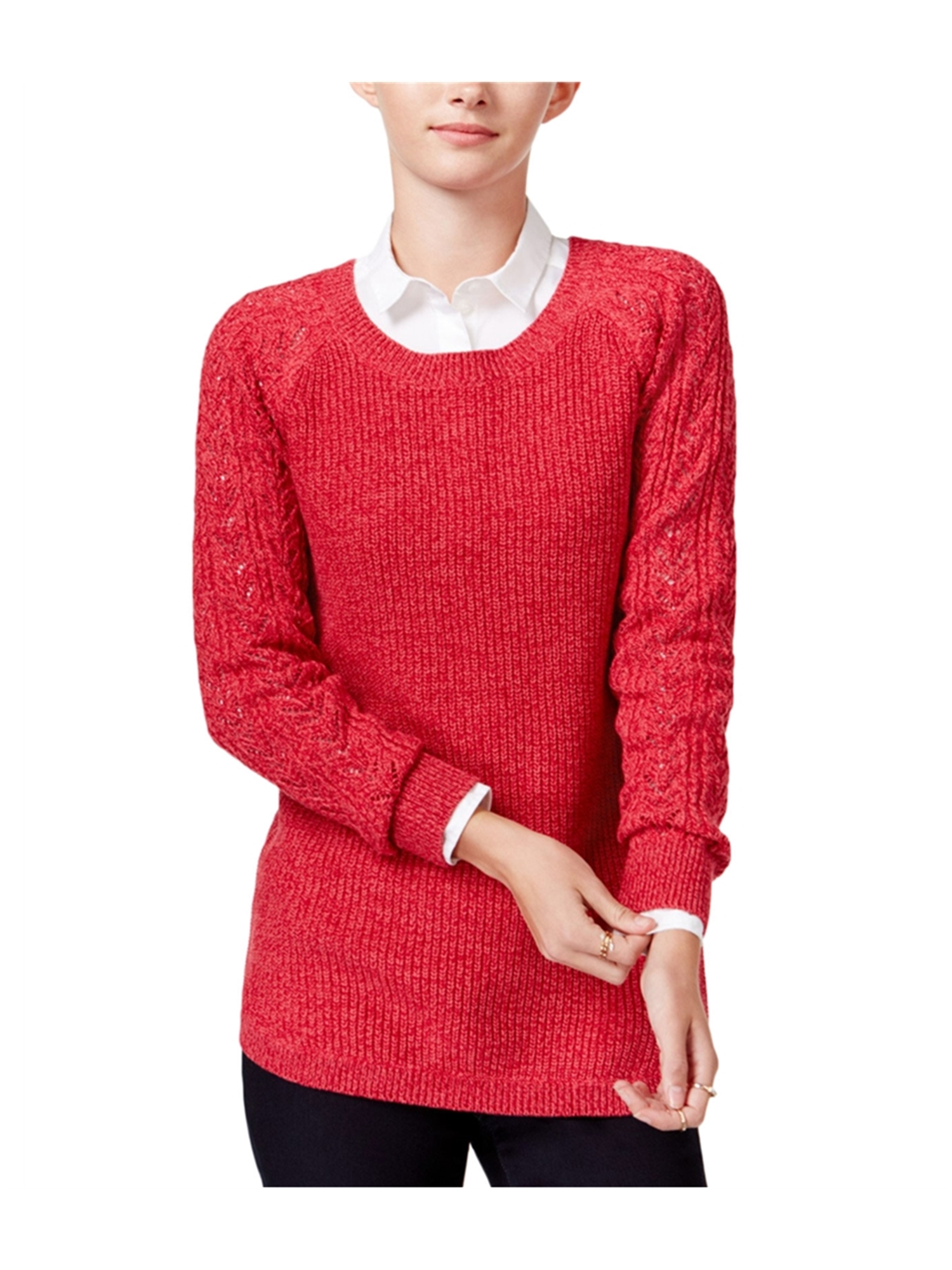 maison Jules Womens Solid Cable Knit Pullover Sweater bannerred M 25dd97c2f