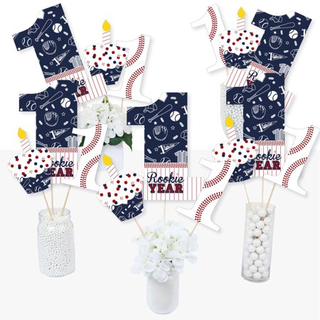 1st Birthday Batter Up - Baseball - First Birthday Party Centerpiece Sticks - Table Toppers - Set of 15 (First Birthday Centerpieces)