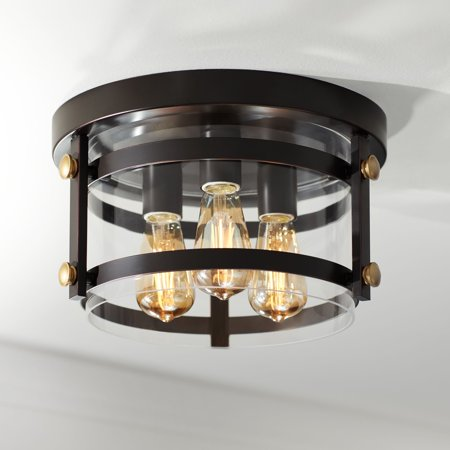 Franklin Iron Works Farmhouse Ceiling Light Flush Mount Fixture LED Edison Oil Rubbed Bronze 13 1/2