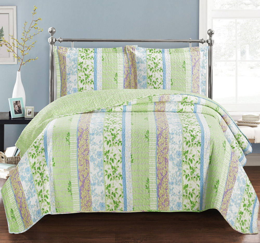 Hayley Oversize Wrinkle-Free & Easy Care Coverlet Set Reversible Quilt by Royal Plaza Textiles, Inc.