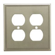 Cosmas 65044 Satin Nickel Double Duplex Outlet Wall Plate