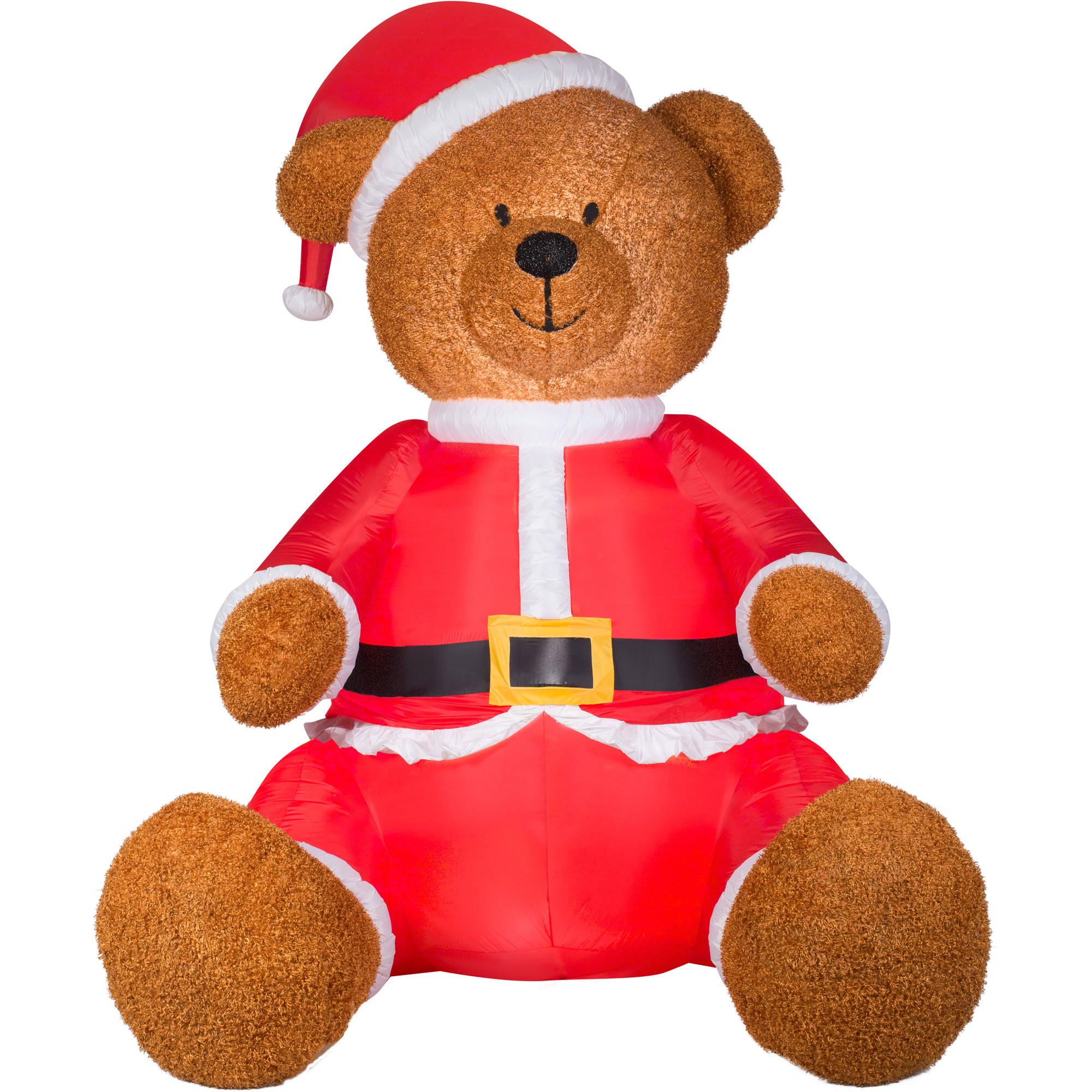 gemmy airblown christmas inflatables 9 teddy bear with santa outfit walmartcom